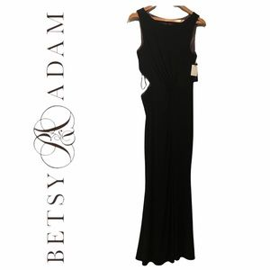 BETSY & ADAM (NWT) Black Formal Gown with Side Cut Out
